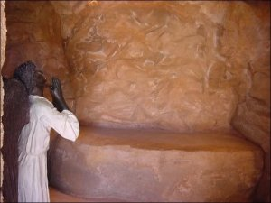 God's messenger at the  empty tomb.  Shrine of Christ's Passion, St. John, IN.